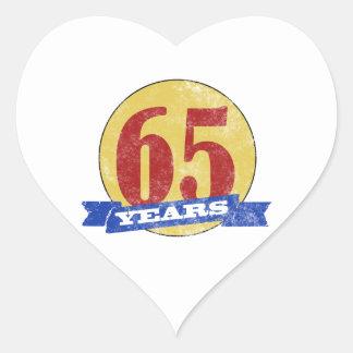 Unique 65th Birthday Heart Sticker