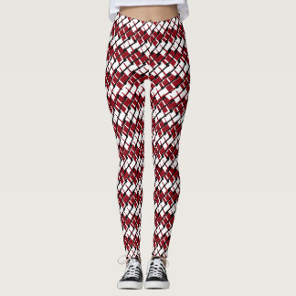 Unique and Cool Red & White Argyle Styled Pattern Leggings