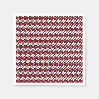 Unique and Cool Red & White Argyle Styled Pattern Paper Napkin