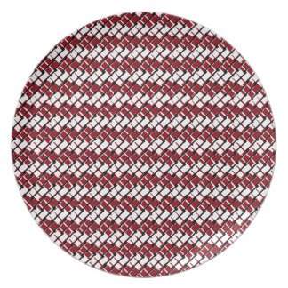 Unique and Cool Red & White Argyle Styled Pattern Plate