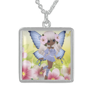 Unique and Exotic African American Princess Fairy Square Pendant Necklace
