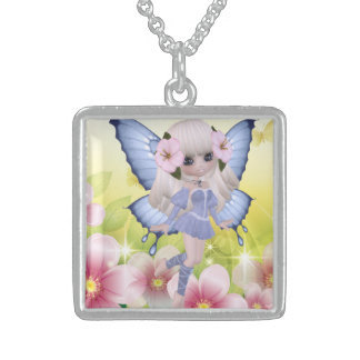 Unique and Exotic Blond Princess Fairy Square Pendant Necklace