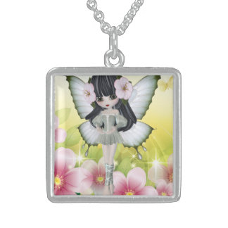 Unique and Loving Brunette Princess Fairy Sterling Silver Necklace