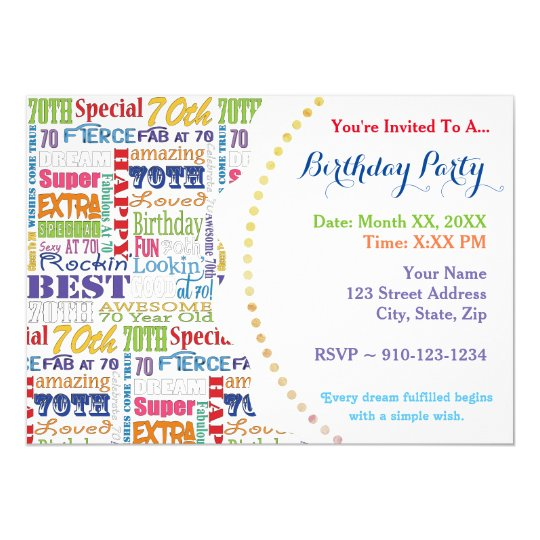Unique And Special 70th Birthday Party Gifts Card