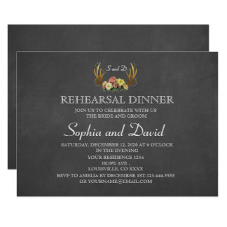 Unique Antlers Floral Wedding REHEARSAL DINNER Card