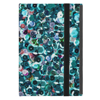 Unique Aqua Blue Faux Sequin Sparkle Print Covers For iPad Mini