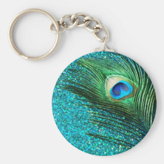 Unique Aqua Peacock Basic Round Button Key Ring