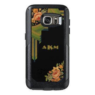 Unique Art Deco Style Floral Monogram OtterBox Samsung Galaxy S7 Case