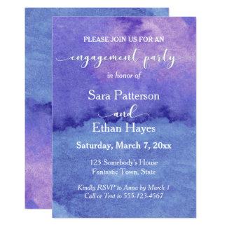 Unique, Artsy Purple Watercolor Engagement Party Card