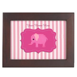 Unique Baby Elephant Pink Personalized Keepsake Box