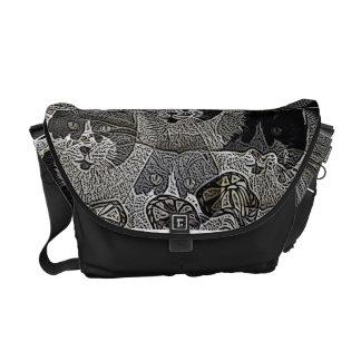 Unique Black and White Cat designer messenger bag