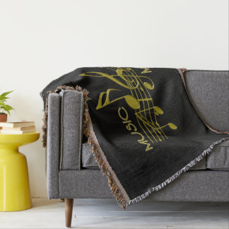 Unique black gold music lovers Throw Blanket