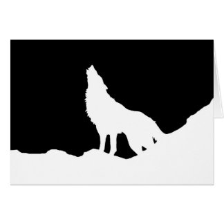 Unique Black & White Pop Art Wolf Silhouette Greeting Card