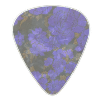 Unique Blue Abstract Roses Pearl Celluloid Guitar Pick