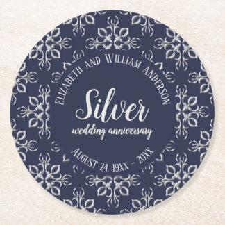 Unique Blue and Silver Gray 25th Anniversary Round Paper Coaster