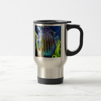 Unique blue eyed fish, swimming on this travle mug