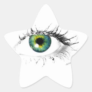 unique blue green eye photo star stickers