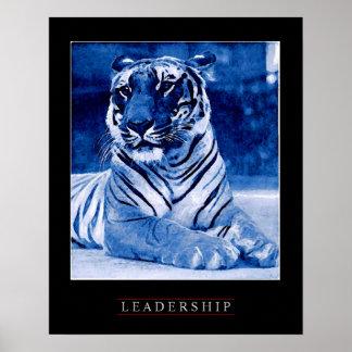Unique Blue Motivational Leadership Tiger Poster