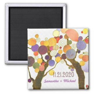 Unique Bohemian Tree Theme Wedding Invitation Square Magnet