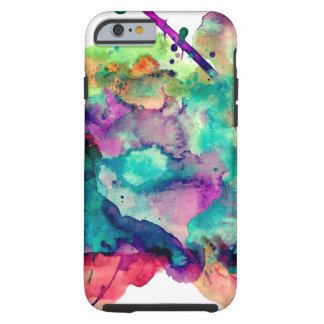 Unique, Bold, Colorful Watercolor Paint Splatters Tough iPhone 6 Case