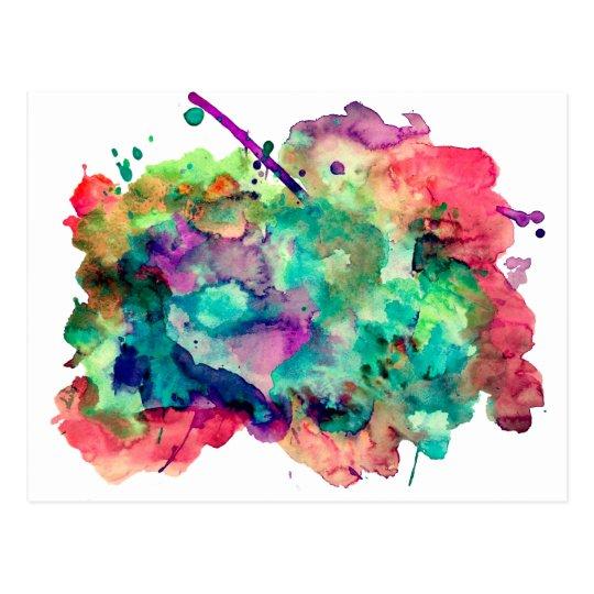 Unique, Bold, Colourful Watercolor Paint Splatters Postcard