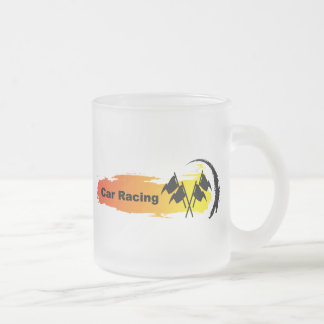 Unique Car Racing Emblem Frosted Glass Mug