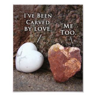 Unique Carved Heart Stone Nature Quote Print Photograph