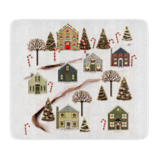 Unique Christmas Village art Cutting Board