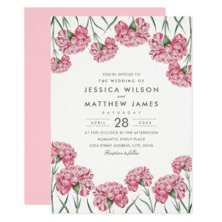 Unique Classic Pink Flowers Elegant Floral Wedding Card