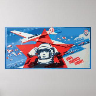 Unique Colorful 1960s-era Soviet Cosmonaut Poster