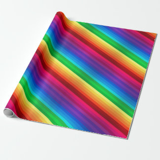 Unique Colorful Diagonal Rainbow Stripped Wrapping Paper