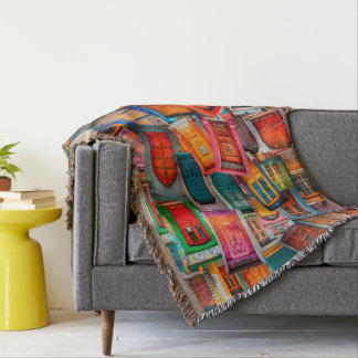 Unique Colorful Doors of the World Artistic Throw Blanket
