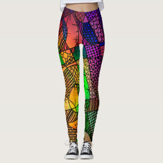 Unique Colorful Geometric Abstract, Crazy Cool Leggings