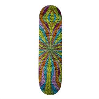 Unique colorful mosaic pattern skate deck
