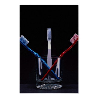Unique colorful toothbrushes poster