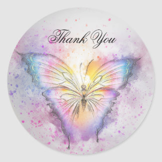 Unique Colorful Watercolor Butterfly Thank You Classic Round Sticker