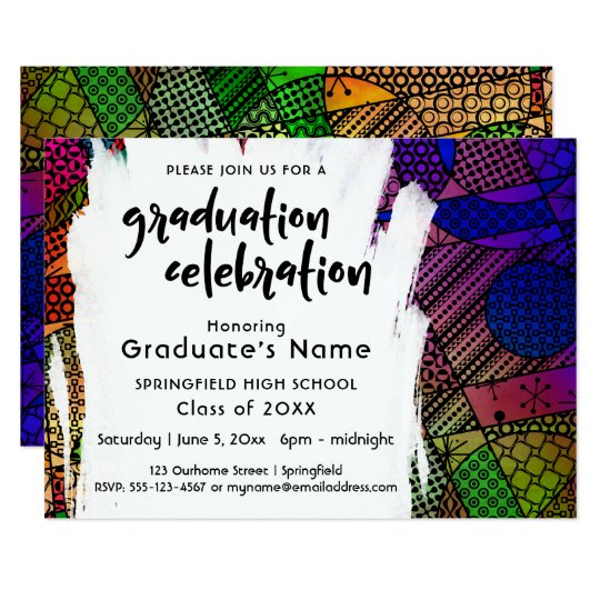 Unique, Colourful, Geometric 2 Graduation Party Card