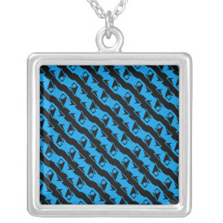 Unique & Cool Black & Azure Blue Modern Pattern Silver Plated Necklace