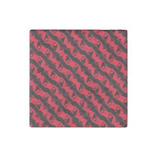 Unique & Cool Black & Bright Red Modern Pattern Stone Magnet