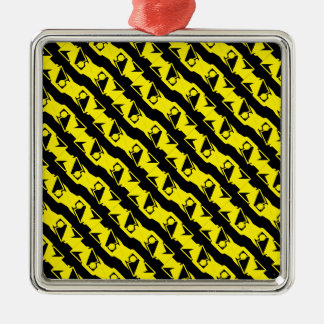 Unique & Cool Black & Bright Yellow Modern Pattern Christmas Ornament