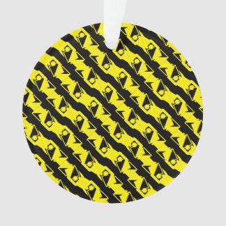 Unique & Cool Black & Bright Yellow Modern Pattern Ornament