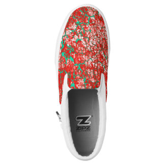 Unique Cool Pink Red Green Abstract Pattern Slip-On Shoes