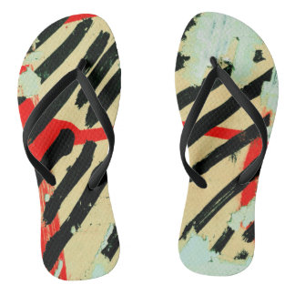 Unique Cool Worn Wall Paper Paint Flip Flops