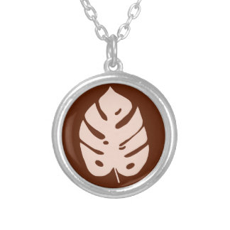 Unique Copper Monstera Tropical Plant Design Round Pendant Necklace