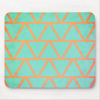 Unique Coral and Turquoise Geometric Pattern Mouse Mat