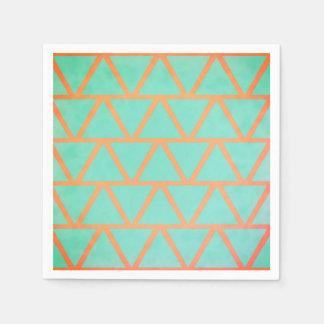 Unique Coral & Turquoise Geometric Pattern Paper Napkin