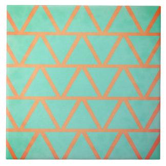Unique Coral & Turquoise Geometric Pattern Tile