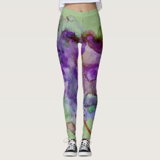 Unique, Crazy Green & Purple Paint Splatter Leggings