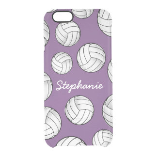 Unique Custom Name Volleyball Purple Clear iPhone 6/6S Case
