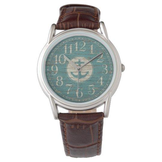 Unique Decorative Nautical Anchor Vintage Wood Watch